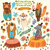 image of cute bears  - Vector Set of Cute Woodland and Forest Animals - JPG