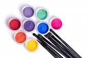 picture of jade blue  - Set of bright matte mineral eye shadows and brushes - JPG