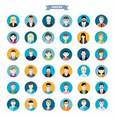 image of emo-boy  - Big set of stylish avatar of male and woman icons in flat design - JPG