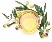 picture of olive branch  - olive branch with olives and olive oil isolated on a white background - JPG