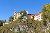 stock photo of bavarian alps  - Neuschwanstein castle in Bavarian alps - JPG