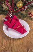 pic of dinner invitation  - Christmas dinner invitation on light brown wooden background - JPG