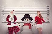 foto of mug shot  - Father Christmas doing some yoga against mug shot background - JPG