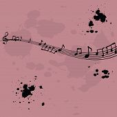 foto of g-spot  - Pink background with music elements and ink spots - JPG