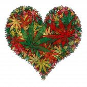 stock photo of rastafari  - Illustration of a marijuana leaf in the shape of a heart - JPG