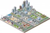 image of skyscrapers  - Vector isometric city center on the map with lots of buildings skyscrapers factories and parks - JPG