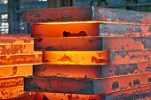 picture of ferrous metal  - Stack of steel plate inside of plant - JPG