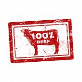 picture of 100 percent  - Grunge rubber stamp with the cow and the text 100 percent beef inside - JPG