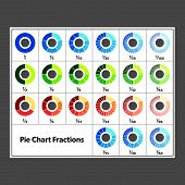 picture of fraction  - Large selection of pie chart fractions - JPG