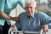 stock photo of geriatric  - Handicapped man using walker  - JPG
