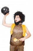 image of hirsutes  - Funny caveman with pot isolated on white - JPG