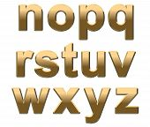 Gold Alphabet Letters Lowercase N-z On White