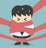 stock photo of caught  - Businessman caught in Red Tape Illustration Cartoons concepts - JPG