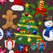 picture of weihnachten  - New year pattern with snowman Christmas tree toy gingerbread man - JPG