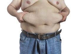 picture of bulging belly  - overweight Man pinching his belly fat isolated on white backgound - JPG
