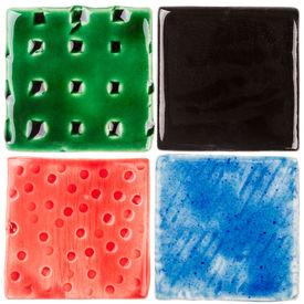 image of raku  - Handmade glazed ceramic tiles isolated on white - JPG