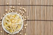 stock photo of soybean sprouts  - Portion of preserved Soy Sprouts  - JPG