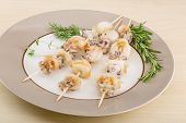 stock photo of cuttlefish  - Grilled cuttlefish bbq with rosemary and pepper - JPG