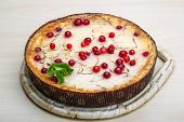 image of cheesecake  - Cheesecake with berries and fresh mint branch - JPG