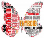 image of fibromyalgia  - Thyroid butterfly shaped word cloud on a white background - JPG