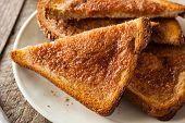 image of cinnamon  - Homemade Sugar and Cinnamon Toast for Breakfast - JPG