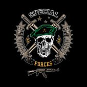 stock photo of special forces  - Special forces colored vector emblem with skull daggers and gun - JPG