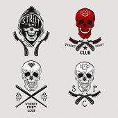 foto of brass knuckles  - Vector illustration street fight emblem with skull brass knuckles and straight razor - JPG