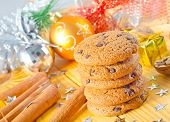 stock photo of christmas cookie  - sweet cookies on the wooden table - JPG