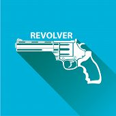 foto of pistols  - vector vintage pistol gun icon on blue background - JPG
