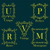 pic of monogram  - Monogram Logos Set in flourish style - JPG