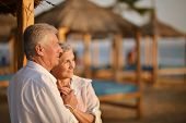 foto of amusement  - Portrait of a amusing old couple on vacation - JPG