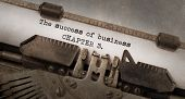 foto of old vintage typewriter  - Vintage typewriter old rusty and used The succes of business chapter 3 - JPG