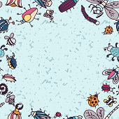 pic of summer insects  - Cute cartoon insect border pattern - JPG