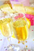 image of flute  - champagne flutes on a table - JPG
