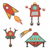 picture of outer  - Colorful outer space stickers collection in vector format - JPG