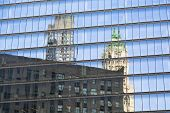picture of skyscrapers  - Reflections of skyscrapers in the facade of another skyscraper in Manhattan - JPG