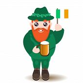 stock photo of dwarf  - Illustration of Saint Patrick Day ginger bearded smiling male dwarf character in green costume and hat with shamrocks holding a mug of beer and irish flag isolated on white background - JPG