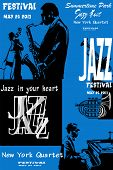 picture of double-bass  - Jazz poster with saxophone - JPG