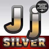 image of letter j  - Vector set of gradient silver font with black border - JPG