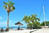 pic of gazebo  - Florida tropical beach with gazebo and sailboat - JPG