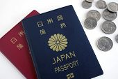 image of japanese coin  - Japanese passport and quarterdime nickel on white background - JPG