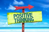 foto of think positive  - Positive Thinking sign with beach background - JPG