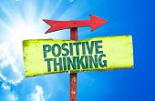 picture of think positive  - Positive Thinking sign with sky background - JPG