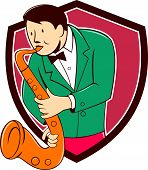 foto of saxophone player  - Cartoon style illustration of a musician playing saxophone viewed from front on isolated background set inside shield crest - JPG