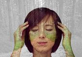 image of pain-tree  - Double exposure portrait of pensive girl combined with image of trees in the forest - JPG