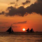 foto of boracay  - Beautiful sunset at Boracay Philippines - JPG