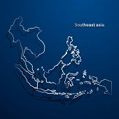 picture of southeast  - Southeast asia  map hand drawn background vector - JPG