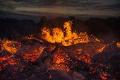 stock photo of bonfire  - landscape with bonfire - JPG