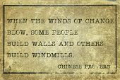 picture of proverb  - When the winds of change blow  - JPG