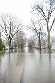 pic of flood  - A flooded roadway in the Chicago area on a cloudy day - JPG